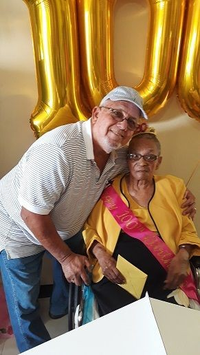 Celebrating her 100th birthday  with Ms. Ina V. Connor