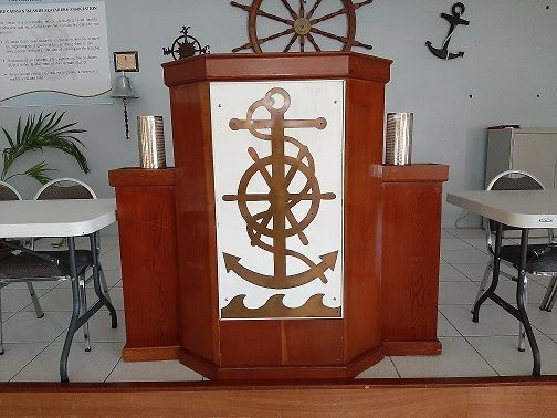 Crest logo on pulpit donated by Seth (Boosey) Arch - 2010