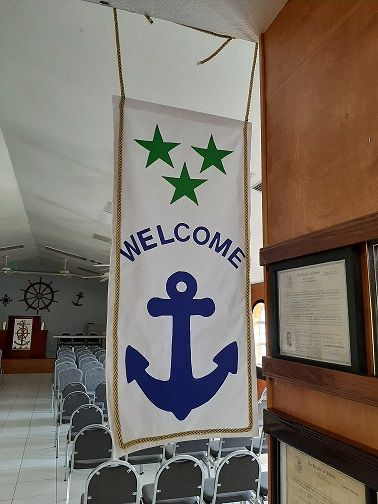 Welcome flag donated by Adonia Barnes - 2019