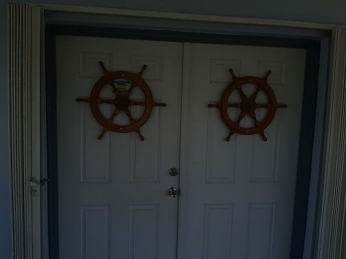 Wheels on entrance doors donated by J. Andrew Eden 2004